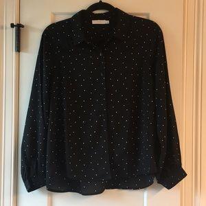 Lush black with white polka dot button down blouse